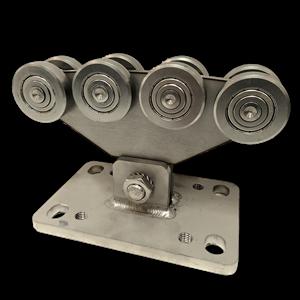 Rollapparat NIKO Typ 55.X002 Edelstahl,für Schiebetore bis 300kg Flügelgewicht,,Durchfahrtslichte bis 4000mm.