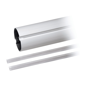 Weiß lackierter Rundbalken aus Aluminium, mit Abdeckprofil. Ø 100 mm,,Balkenlänge: 2 m